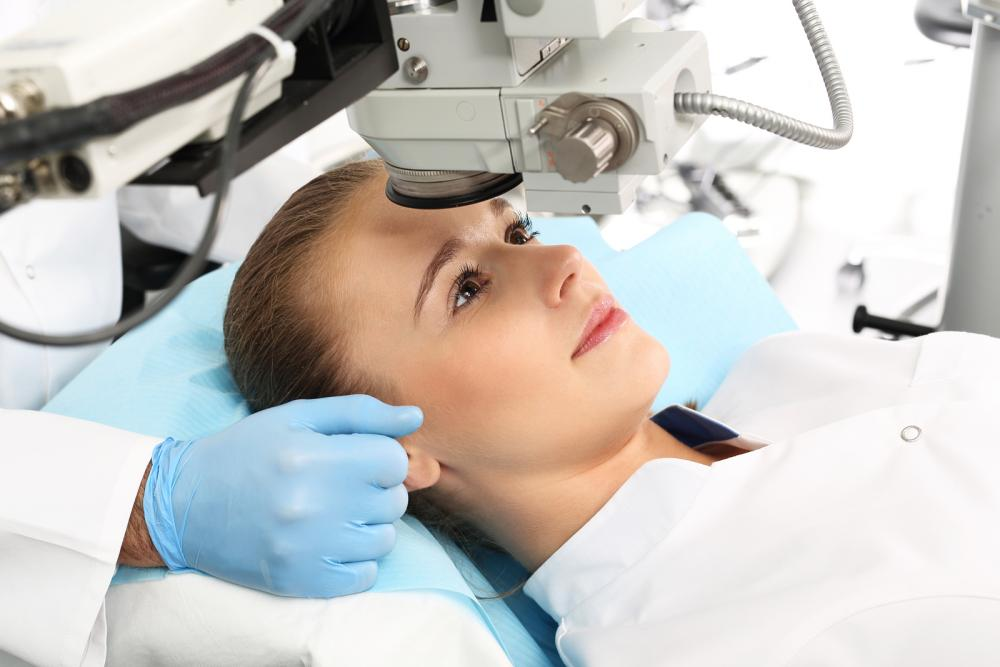 female patient getting lasik eye surgery
