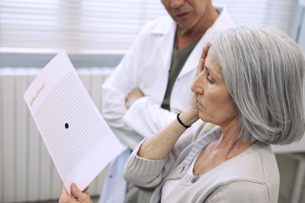 Woman being tested for Macular Degeneration.